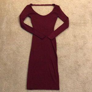 Love J Size L Maroon Midi-Dress